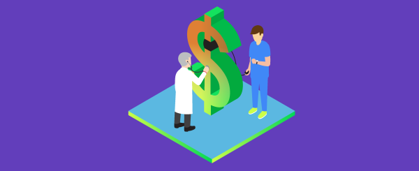 Best way to collect money from patients. Illustration.
