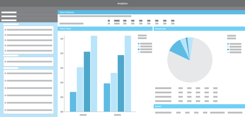 Health data insights dashboard for medical practice analytics. Illustration.