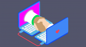 Hand shake between two hands sticking out of two laptop screens. Illustration.
