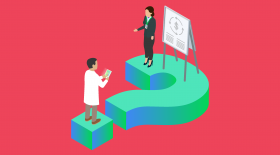 Doctor in white coat standing on a giant question mark, using a tablet for third-party RCM vendor research. A Greenway Health team member is on the other side of the question mark to provide answers on revenue cycle management. Illustration.
