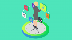 Businesswoman standing on a clock, evaluation EHR satisfaction. Illustration.